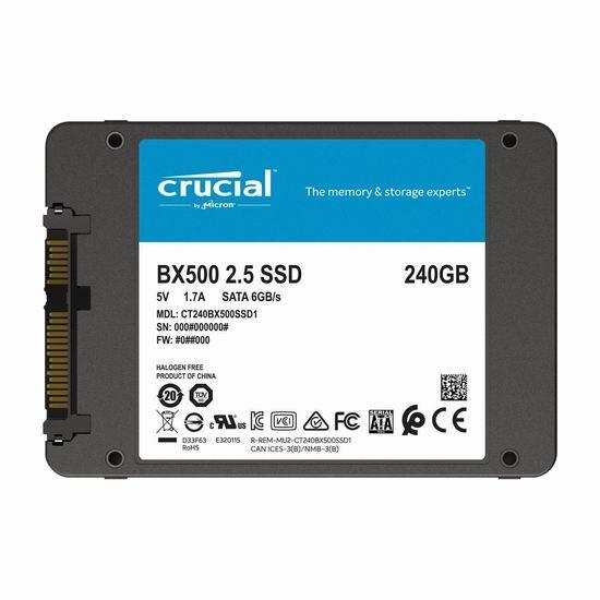 历史新低!Crucial BX500 240GB 3D NAND SSD固态硬盘 37.99加元包邮!