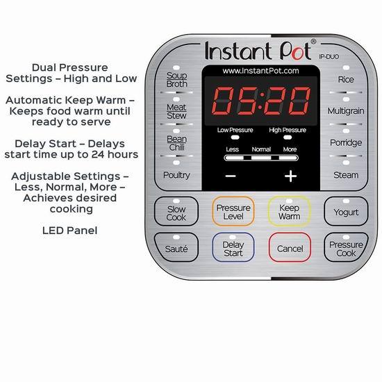 手慢无!Instant Pot IP-DUO60 6夸脱 7合一 多功能电压力锅 62.22加元包邮!送价值25.99加元菜谱!