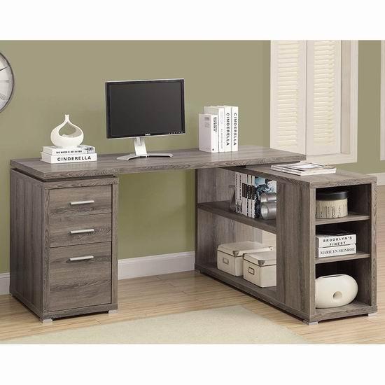 历史新低!Monarch Specialties I 7023 时尚L型电脑桌/书桌 299.97加元包邮!3色可选!