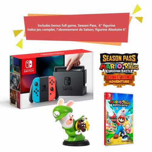 Nintendo Switch游戏机 +《马里奥疯狂兔子:王国之战》 游戏超值套装 379.96加元包邮!2款可选!