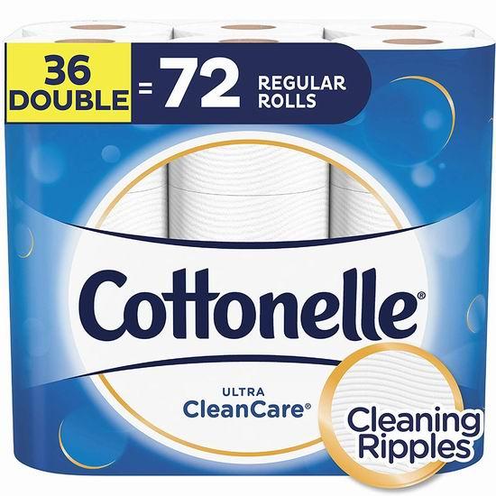 历史最低价!Cottonelle Ultra Cleancare 36卷双层超强卫生纸 13.98加元包邮!