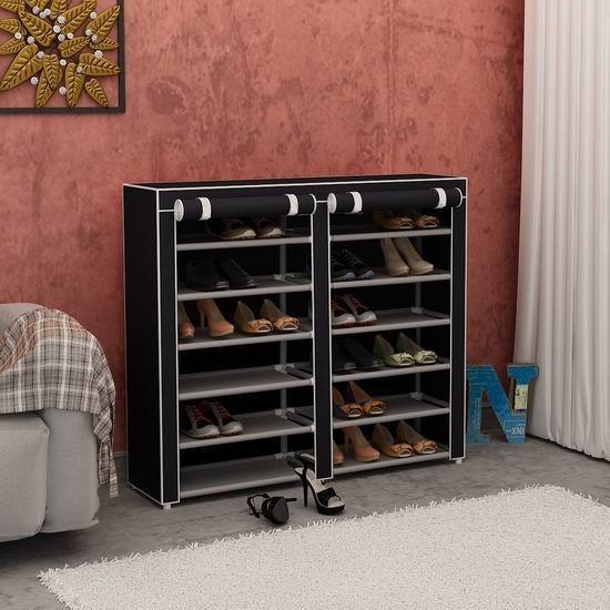 Homebi 带防尘罩 黑色双排六层鞋架 26加元限量特卖并包邮!