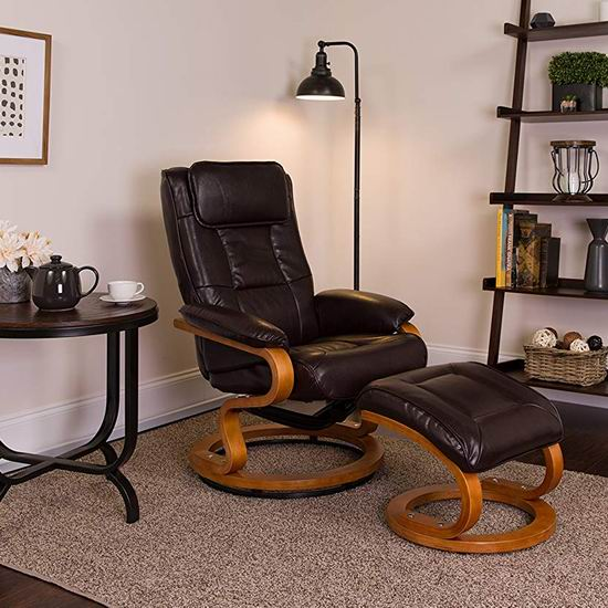 历史新低!Flash Furniture BT-7615-BN-CURV-GG 超舒适真皮躺椅+脚踏4.8折 255.76加元包邮!