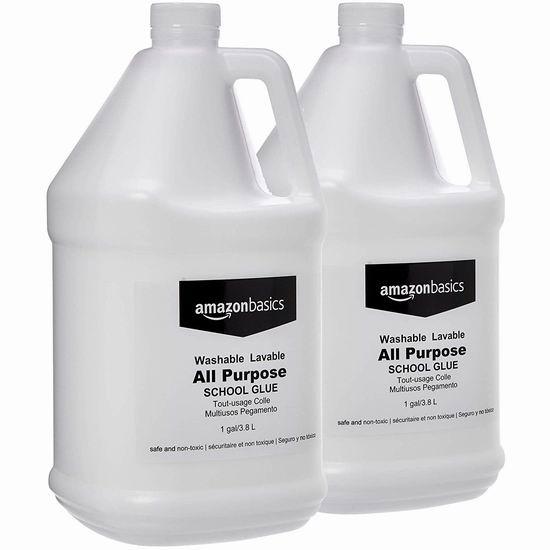历史最低价!AmazonBasics 多用途 可水洗 液体胶水(2 x 1加仑)4.6折 25.99加元!