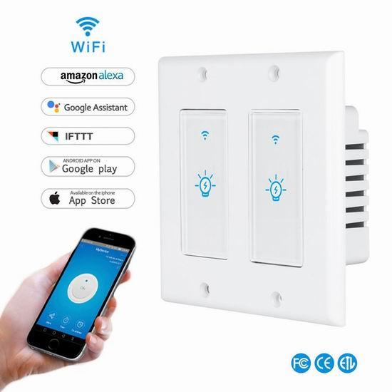 历史新低!LYASI 入墙式 Wi-Fi 单键/双键 智能开关 20.99-29.99加元!支持手机遥控、支持Alexa、Google语音控制!
