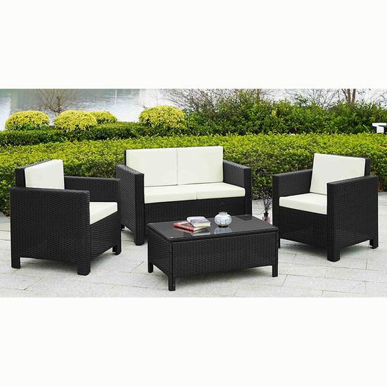 历史新低!Velago 22556 Caslano 仿藤条编织 庭院软垫沙发+茶几4件套3.7折 588加元包邮!