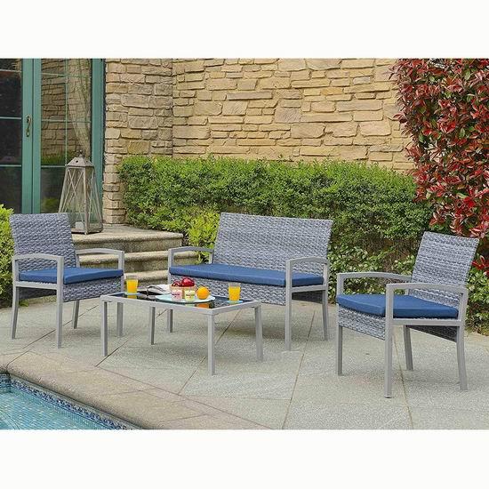 历史新低!Velago 22555 Biasca 仿藤条编织 庭院软垫沙发+茶几4件套5.1折 354.98加元包邮!