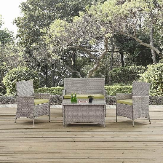 历史新低!LexMod Modway EEI-2212-LGR-PER 仿藤条编织 庭院软垫沙发+茶几4件套5.5折 496.95加元包邮!2色可选!