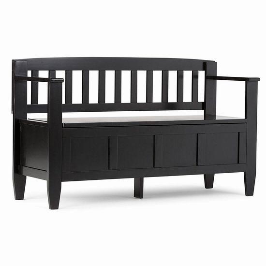 Simpli Home Brooklyn 黑色实木储物双人长椅/门厅座椅4.3折 286.98加元包邮!