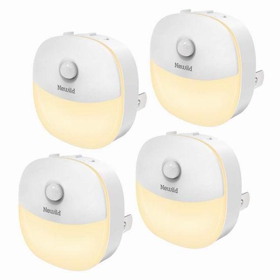 Newild 运动感应 暖白护眼LED夜灯4件套 28.04加元限量特卖!