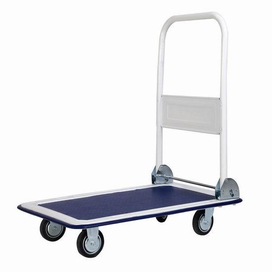 历史新低!Giantex 330磅 可折叠 重型平板拖车 57.19加元包邮!