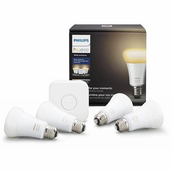 Philips 飞利浦 Hue Ambiance A19 智能焕彩家庭照明系统 119.99加元包邮!