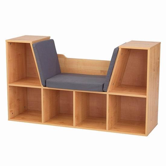 历史新低!KidKraft Bookcase 二合一 儿童书柜/玩具柜/坐凳5.5折 125.91加元包邮!