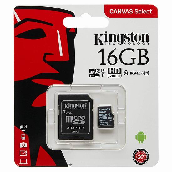 历史新低!Kingston 金士顿 microSDHC Canvas Select 16GB 储存卡 3.99加元!