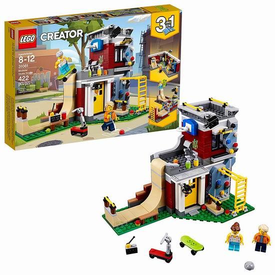 历史新低!LEGO 乐高 31081 创意百变系列 三合一 滑板玩乐屋(422pcs)6.2折 30.99加元!