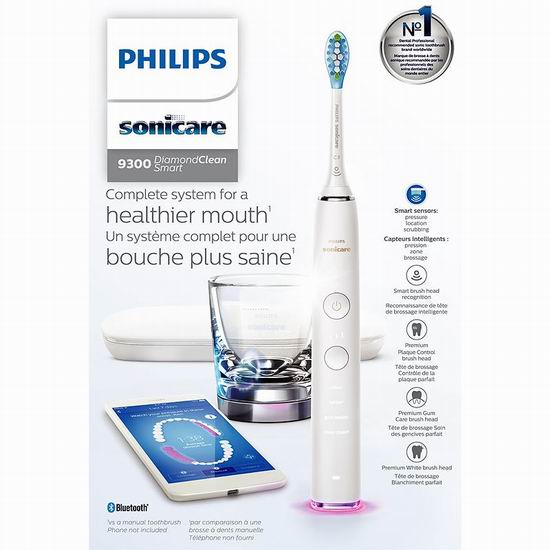 Philips 飞利浦 DiamondClean 9300钻石亮白系列 智能电动牙刷 变相5折!2色可选!