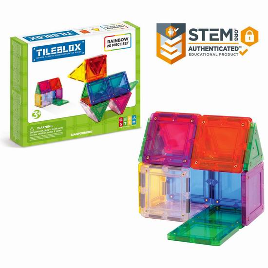 白菜价!历史新低!Magformers Tileblox 彩虹色 百变提拉 磁力积木(20pcs)3.1折 14.23加元!
