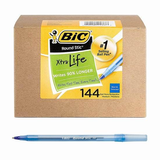 历史新低!BIC Round Stic Xtra Life 蓝色中号原子笔144支超值装 12.99加元!
