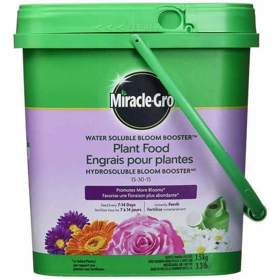 历史新低!Miracle-Gro 2756310 15-30-15 水溶性花卉植物复合肥料(1.5公斤)2.5折 7.98加元!