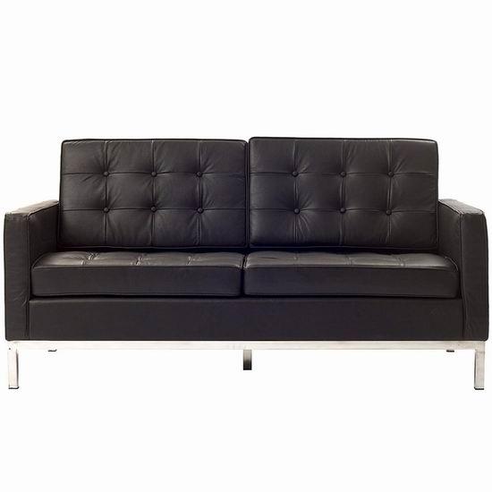 超级白菜!历史新低!Modway Florence 佛罗伦萨风格 棕色真皮沙发1.6折 262.72加元包邮!