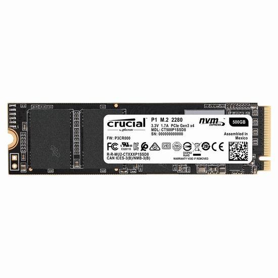 历史新低!Crucial 英睿达 P1 3D NAND 500GB 固态硬盘 79.99加元包邮!