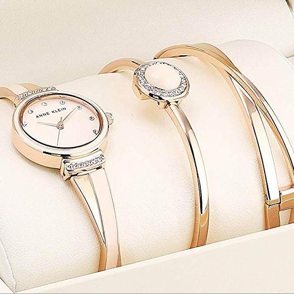 Anne Klein 施华洛世奇水晶 女士腕表/手表+手镯套装 65.21加元包邮!
