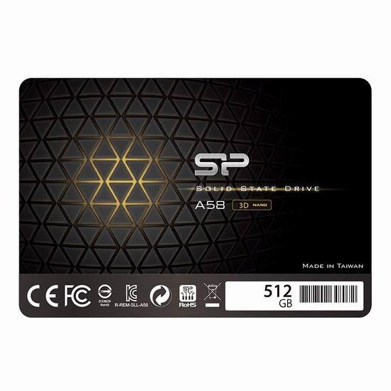 历史最低价!Silicon Power 3D NAND A58 SLC 512GB SSD 固态硬盘 69.99加元包邮!