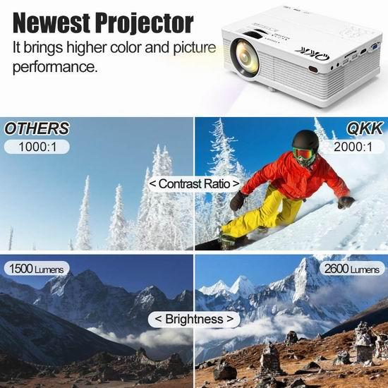 QKK 2600流明 家庭影院投影仪 89.99加元限量特卖并包邮!