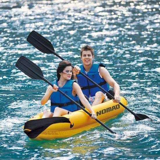 超级白菜!Blue Wave Sports Nomad 双人充气独木舟套装1.7折 76.08加元清仓并包邮!