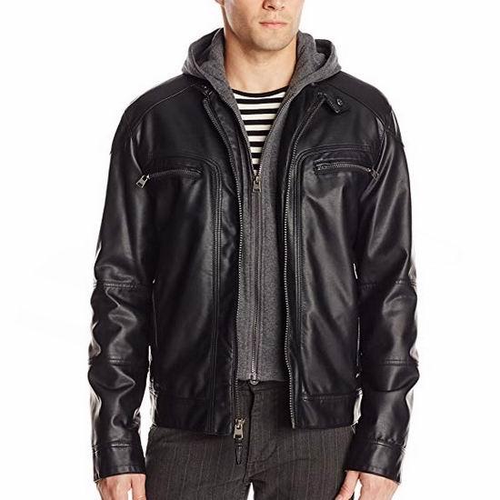 白菜价!Calvin Klein 男式黑色时尚连帽人造革皮夹克(S码/M码)2.1折 44.13-60.92加元包邮!