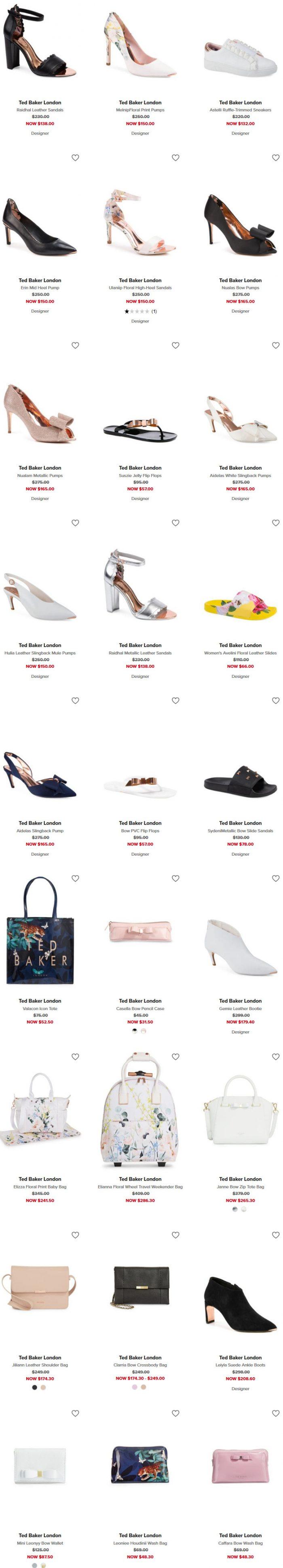Ted Baker London 少女心十足蝴蝶凉鞋、高跟鞋 、美包 6折优惠!