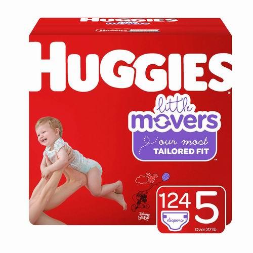 Huggies Little Movers 婴幼儿纸尿裤  Size 5, 124片 28.07加元,原价 37.28加元