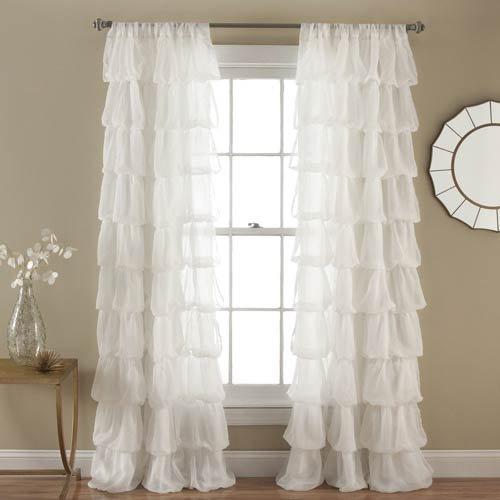 Lush Decor Olivia 84×50英寸 浪漫千层白色窗帘6.6折 47.6加元包邮!