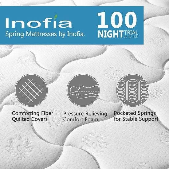 Inofia 8英寸 中等硬度 混合层舒适海绵+独立弹簧Twin/Full/Queen床垫 146.2-215.99加元限量特卖并包邮!