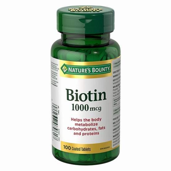 历史新低!Nature's Bounty 自然之宝 Biotin 生物素(1000mcg x 100粒)4.3折 4.27加元!