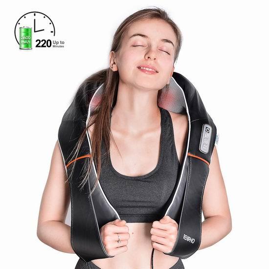 RENPHO 红外加热 3D揉捏 充电式肩颈按摩披肩 60.19加元包邮!
