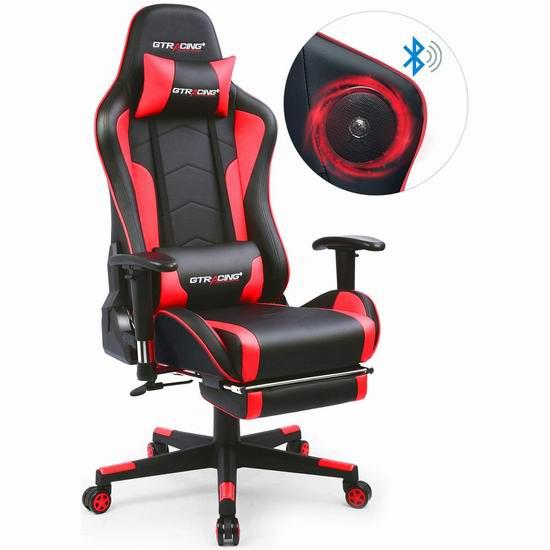 GTRACING GT890F 人体工学 高靠背赛车办公椅/游戏椅 203.99-229.49加元限量特卖并包邮!内置蓝牙立体声双音箱!3色可选!