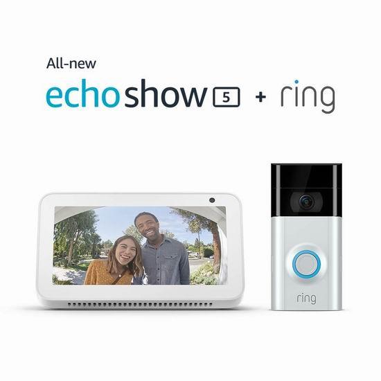 历史新低!新品 Echo Show 5 智能显示器 + Ring 2 1080P 第二代智能门铃 278.99加元包邮!