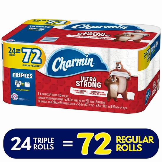 历史新低!Charmin Ultra Strong 超强双层卫生纸24卷装5.6折 15.71加元!