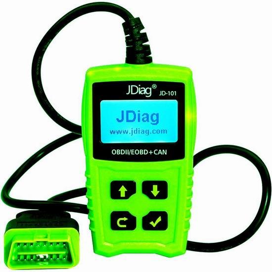 JDiag JD101 OBDII 汽车故障诊断仪 25.99加元限量特卖并包邮!