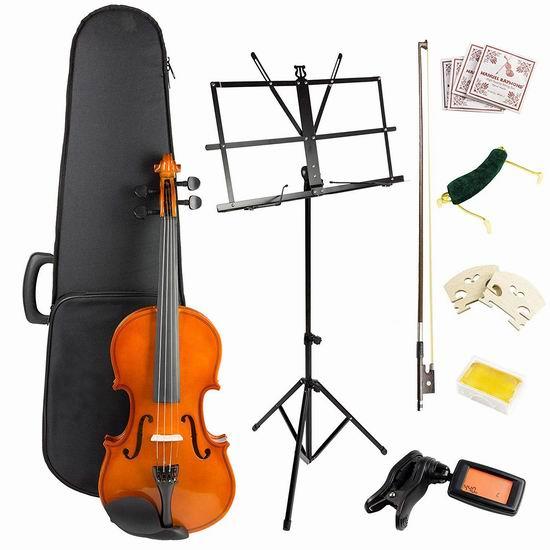 历史新低!RockJam Windsor VIOLINSK44 小提琴+乐谱架套装 89.87加元包邮!