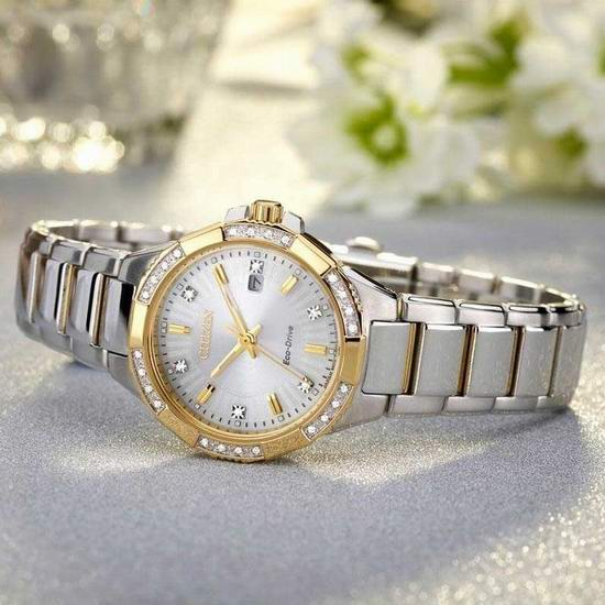Citizen 西铁城 Riva EW2464-55A 镶钻光动能女式腕表/手表5.4折 322.22加元包邮!