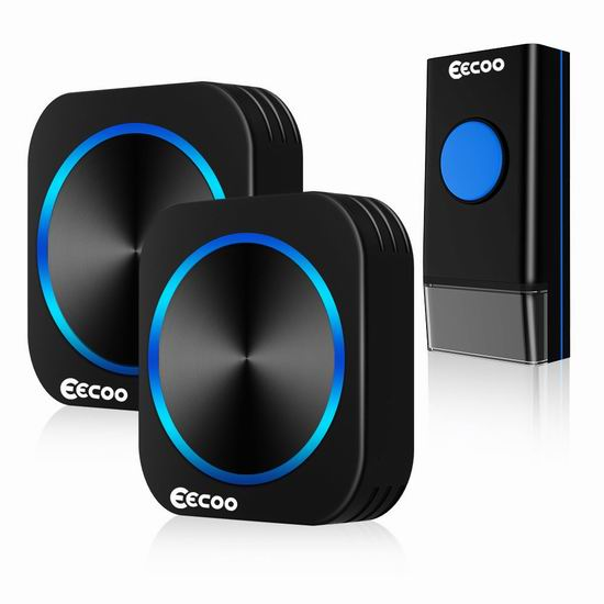 EECOO 防水无线门铃(2接收器) 25.99加元限量特卖!