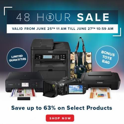 Canon 佳能官网48小时闪购!精选多款喷墨打印机、激光打印机、专业数码摄像机3.7折起+送手袋!低至29.99加元!