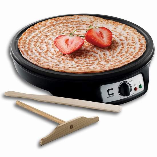 补货!历史新低!Chefman 12英寸电煎饼机3.6折 24.99加元!烙饼、烤肉神器!