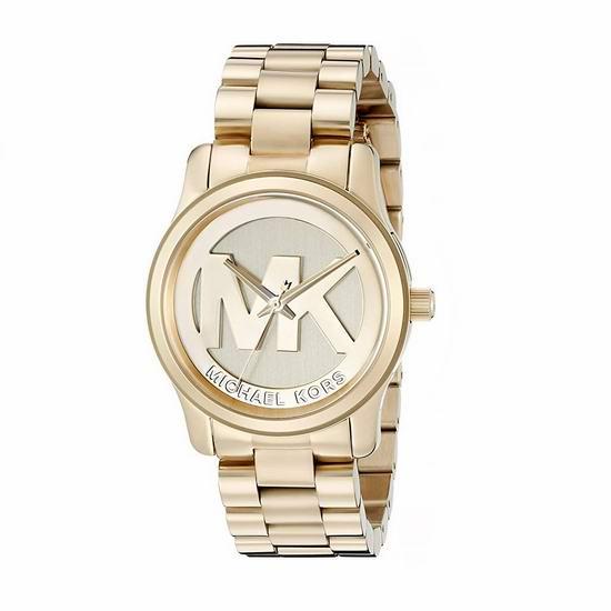 历史新低!Michael Kors Runway MK5786 金色系 大Logo 女士时尚腕表/手表 167.49加元包邮!