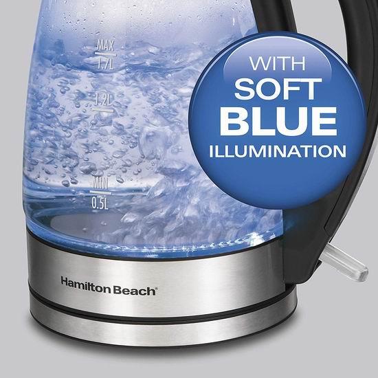 历史最低价!Hamilton Beach 40865C 1.7升蓝光玻璃电热水壶5.4折 34.98加元!