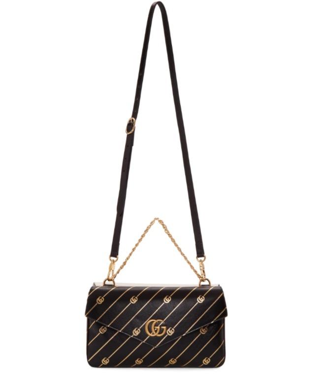 Gucci Thiara 黑色&白色复古色双G单肩包 3057加元,原价 3435加元,包邮