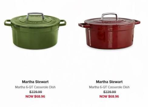 白菜价!Martha Stewart 6夸脱 高颜值 圆形珐琅铸铁锅2.7折 62.06加元清仓并包邮!