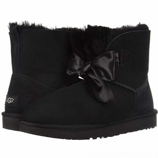 UGG W Gita Bow Mini 蝴蝶结 黑色羊皮毛一体雪地靴(9码)4.1折 87.32加元包邮!
